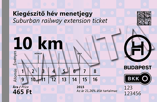 Supplementary hév Suburban Railway ticket